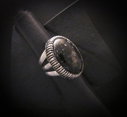 Shandiin Ashikii Wood Sterling Silver Poppy Ring