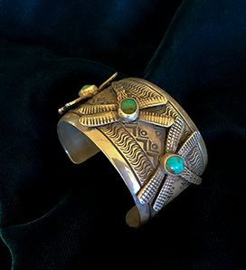 J. Nelson Navajo Sterling Silver and Turquoise Dragonfly Cuff