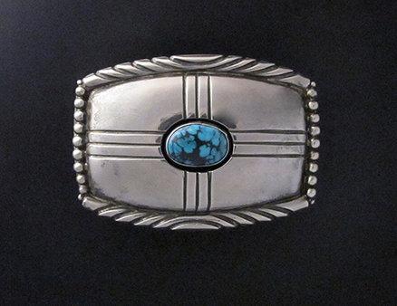 Navajo Sterling Silver & Turquoise Zia Belt Buckle by Wilbur Musket