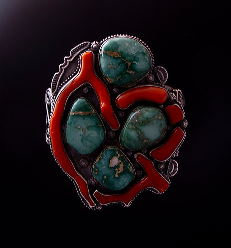 Navajo Silver, Turquoise, and Branch Coral Cuff