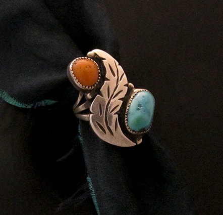 Vintage Navajo Sterling Silver Coral & Turquoise Ring