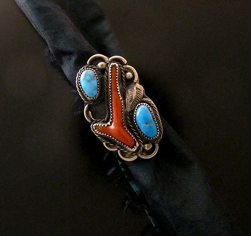 Vintage Sterling Coral & Turquoise Ring