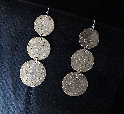 Textured Sterling Silver 3 Disc Dangle Earrings