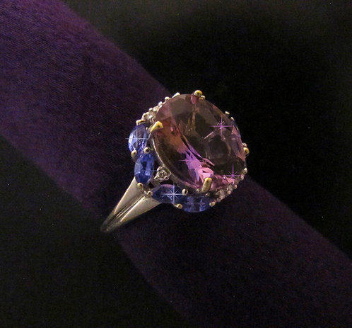 Faceted Ametrine and Tanzanite Ring