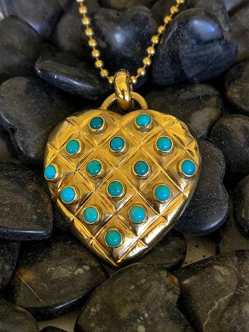 Doug Magnus 18 K Gold and Turquoise Pendant