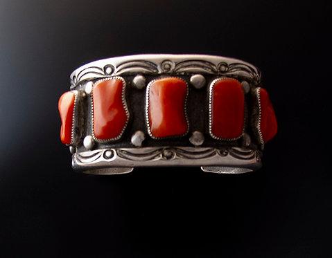 Heavy Navajo Silver and Coral Cuff