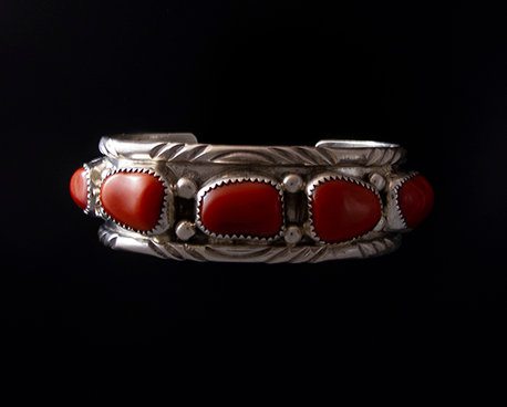 Navajo Silver and Coral Cuff