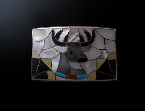 Zuni Sterling Silver Turquoise, Mother of Pearl Belt Buckle