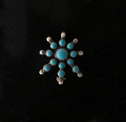 "Turquoise [Reconstituted] & Silver ""starburst"" Pin"