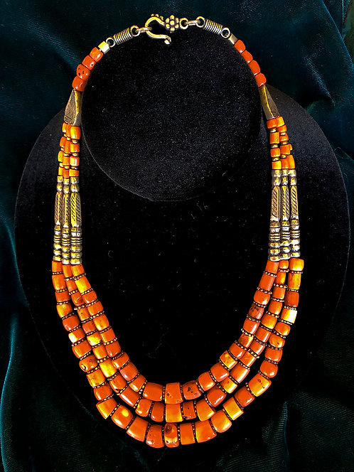 Japanese Coral Three Strand Necklace