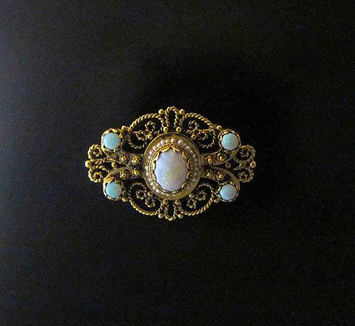 14 Karat Yellow Gold Filigree and Opal Pin/Pendant