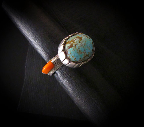 Shandiin Ashikii Wood Sterling Silver Tufa Cast Turquoise & Coral Ring