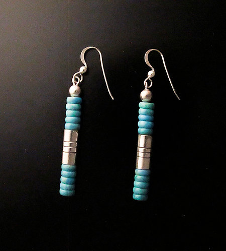 Tony Aguilar, Jr Sterling Silver & Turquoise Drop Earrings