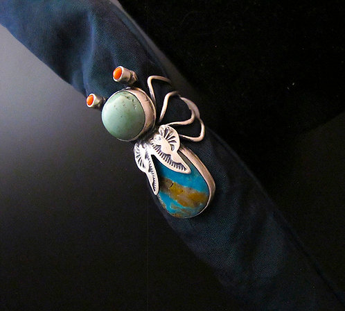 Herbert Ration Sterling Silver & Turquoise Bug Ring