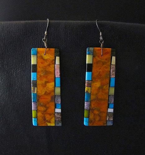 Mary Tafoya Multi Stone Rectangular Inlay Earrings