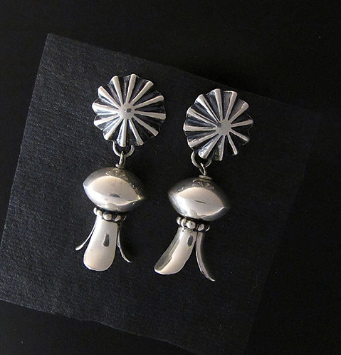 Large Sterling Silver Squash Blossom Dangle Earrings