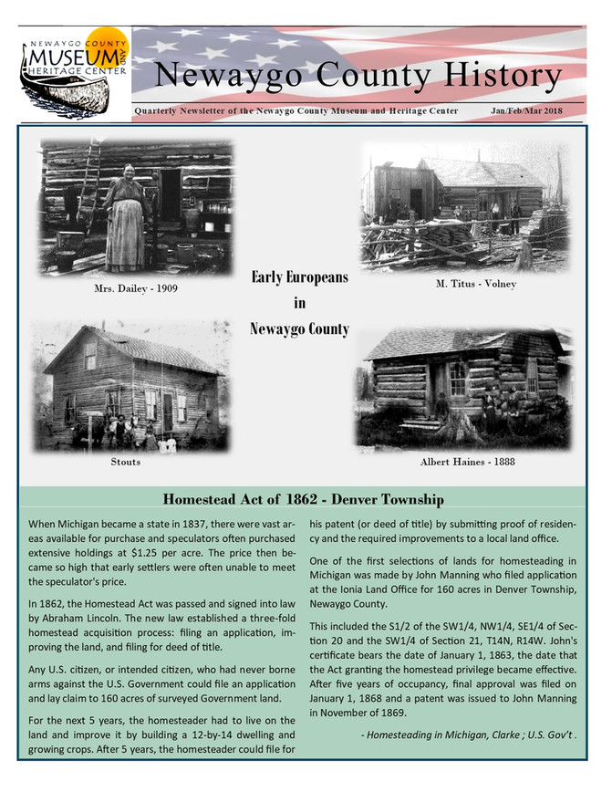 Newaygo County History Newsletter