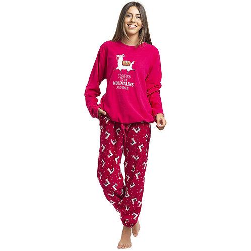 Art. 527 Pijama de Micropolar con Bordado. Diseño alpaca