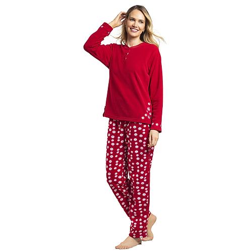 Art. 528 Pijama Micropolar con Bordado . Diseño Margaritas