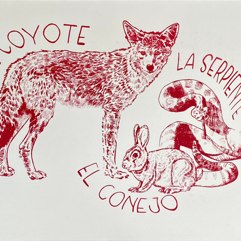 """""""The snake, the rabbit and the coyote"""" Ashley Mireles Serie Project Serigraph 11"""" x15"""" 2019"""