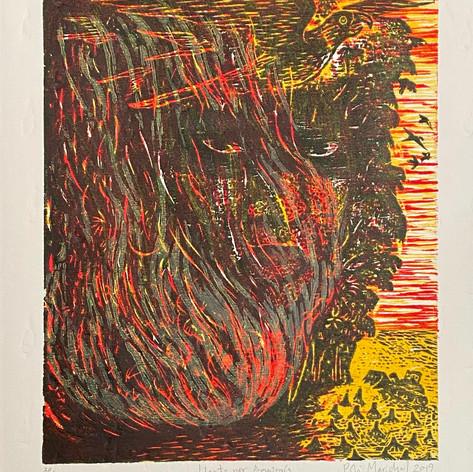 """Llanto por Amazonia"" Poli Marichal Poli Marichal Print Studio Relief cut 11"" x 15"" 2019"