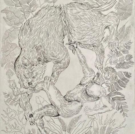 """Fght"" Paloma Oberg sfernandez Press & Taller Etching  11"" x 15"" 2019"