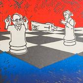 """Checkmate"" Jose Segura & Rachel Welling RioMar Studio Linoleum relief print 11"" x 15""  2019"