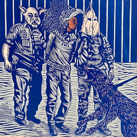 """""""El Danzante"""" Juan R. Fuentes Pájaro Editions Linocut & Silkscreen 11""""x15""""  2019"""