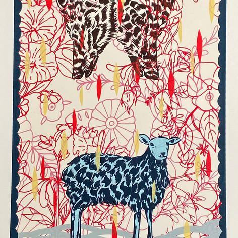 """Beware of wolves"" Jose Arenas TANA (Taller Arte del Nuevo Amanecer) Screenprint 11"" x 15"" 201"