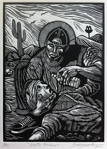 Carlos Barberena, Santo Pollero linocut.
