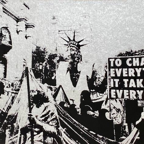 """""""Climate change protest"""" James Cuebas Taller Boricua Silkscreen 11"""" x 15"""" 2019"""