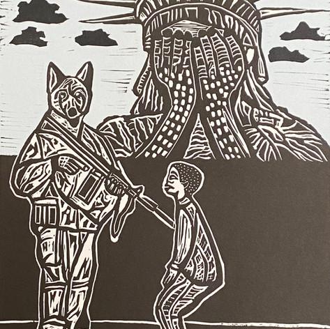"""Libertad abrumada"" Rene de los Santos Coronado Print Studio Linocut and silkscreen 11"" x 15"" 2019"