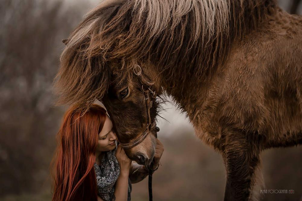mulher abraçando cavalo islândes