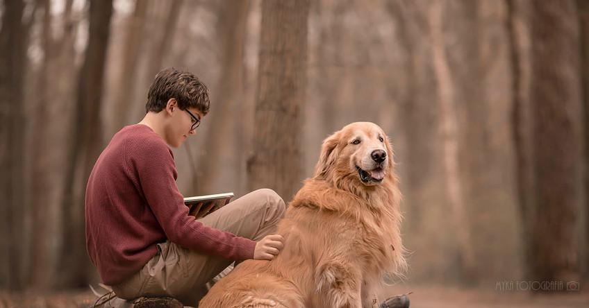 menino com livro e cachorro golden retri