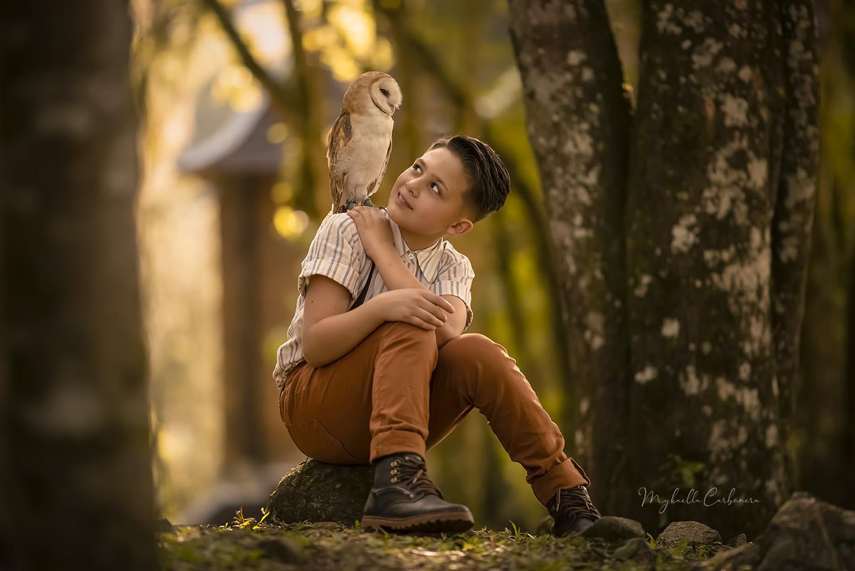 Amizade entre menino e coruja