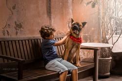 menino brincando com cachorro