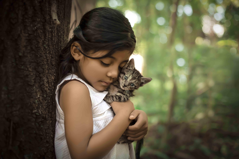 Sophia adorou segurar o gatinho