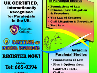 New Cycle of Paralegal Course to commence on Saturday 25th January.