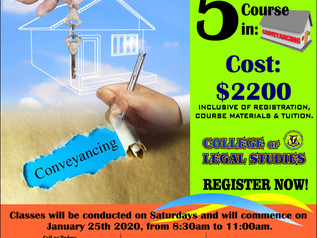 Conveyancing Course to commence on Saturday 25th January. Register Now!!