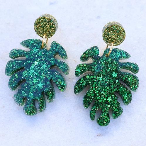 Monstera glitter earrings