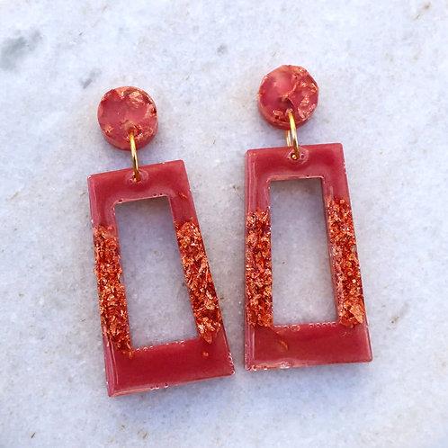 Rose gold rectangle earrings