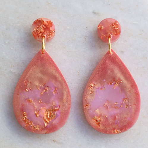 Rose gold marble teardrop earrings