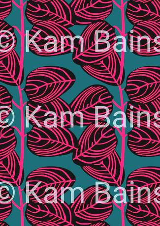 Pink Line Leaves Pattern