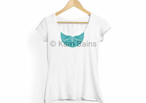 T-Shirt Teal Mandala Pattern