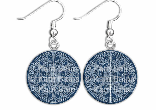 Blue Earrings Mandala Pattern