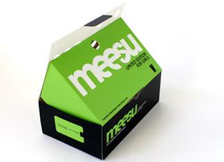 Identyfikacja wizualna firmy obuwniczej Meesu. Makieta.