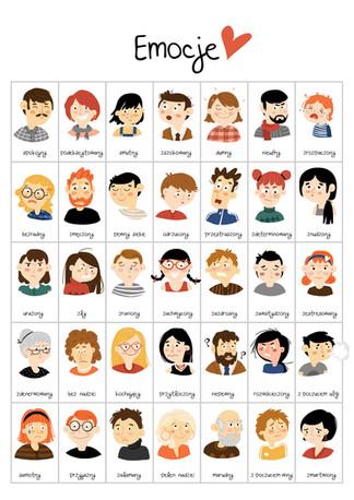Ilustracje Emocje dla Pozytywnej Dyscypliny. 2018