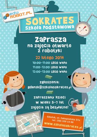 Projekt zaproszenia dla Szkoły Podstawowej Sokrates.