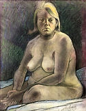11 Large Woman Sitting Nude Pastels 39x2