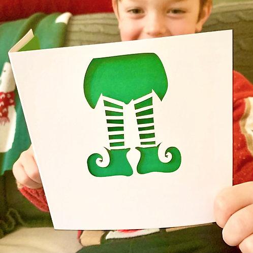 Elf Papercut Christmas Card